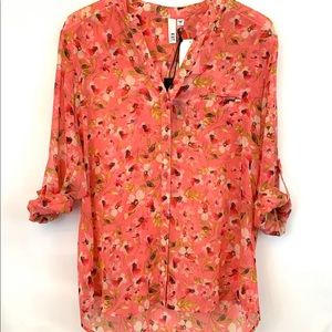 Kut from The Kloth Pink Floral Blouse